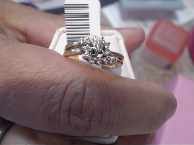 Lady's Diamond Cluster Ring 13 Diamonds .17 Carat T.W. 14K Yellow Gold 2.45dwt