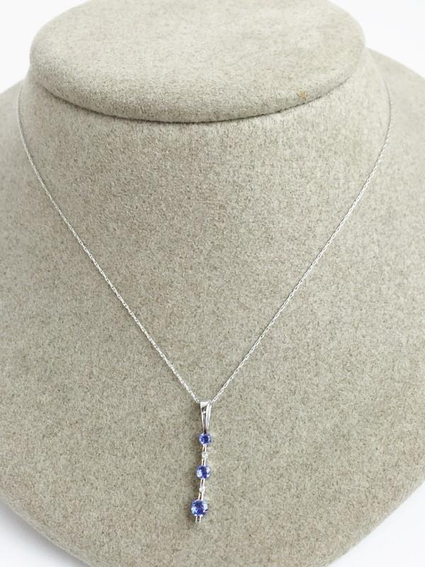 14K White Gold Tanzanite & Diamond Pendant with Chain