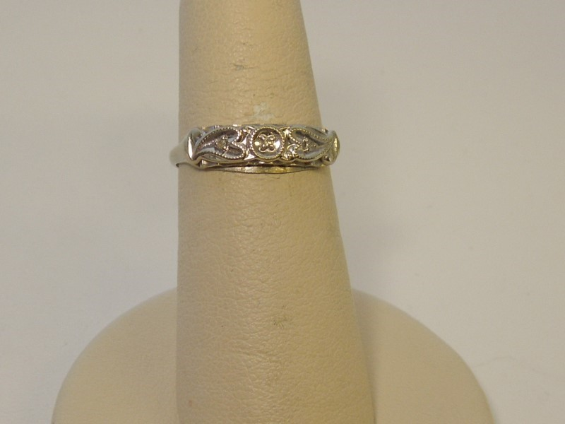 Lady's Diamond Fashion Ring 3 Diamonds .015 Carat T.W. 14K White Gold 1.4g