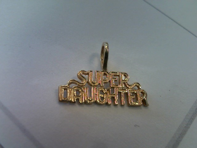 "Beautiful 14k Yellow Gold ""Super Daughter"" Dazzlers Charm Pendant for Necklace"
