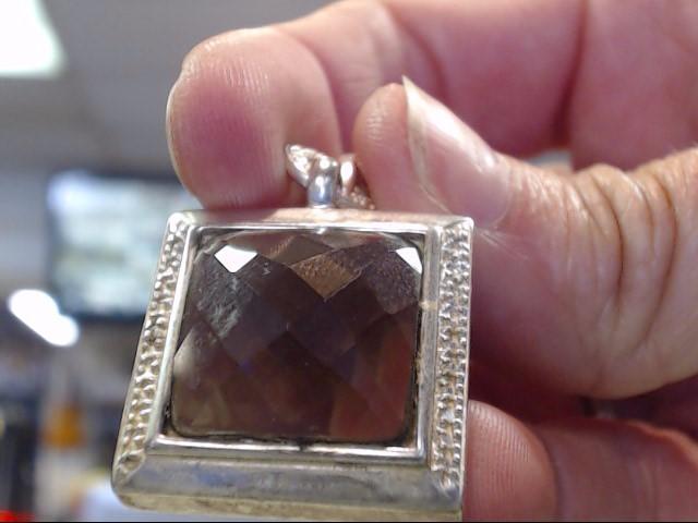 Brown Stone Silver-Stone Pendant 925 Silver 5.95dwt