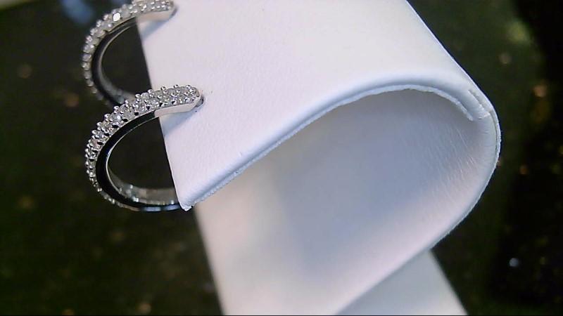 lady's 10k white gold round diamond huggie hoop earrings