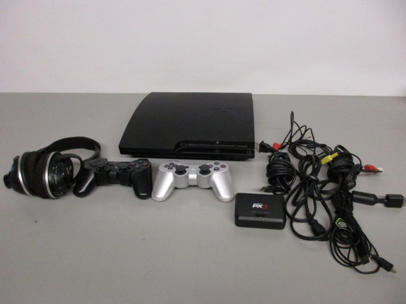 SONY PLAYSTATION 3 SLIM 160GB - CECH-3001A, W/CONTROLLERS, HEADSET