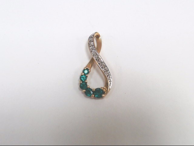 Synthetic Emerald Gold-Diamond & Stone Pendant 9 Diamonds .09 Carat T.W.