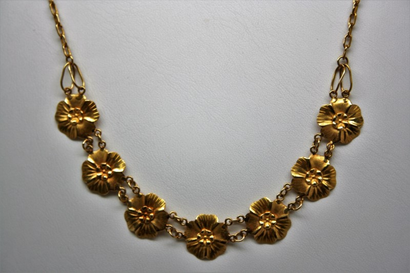 "20"" FLORAL NECKLACE 18K YELLOW GOLD"
