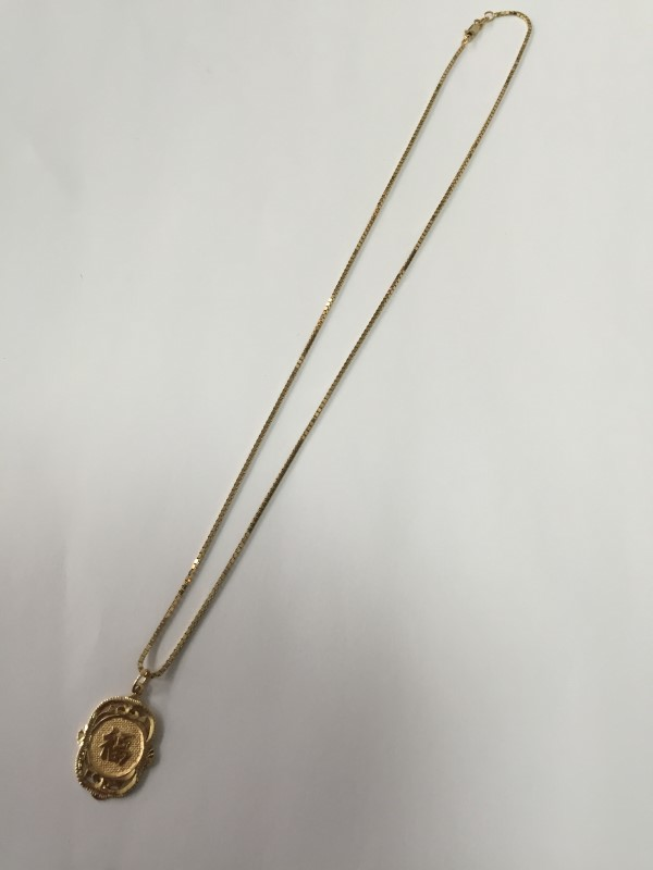 """18"""" GOLD BOX CHAIN 14K YELLOW GOLD 6.6G WITH PENDANT"""