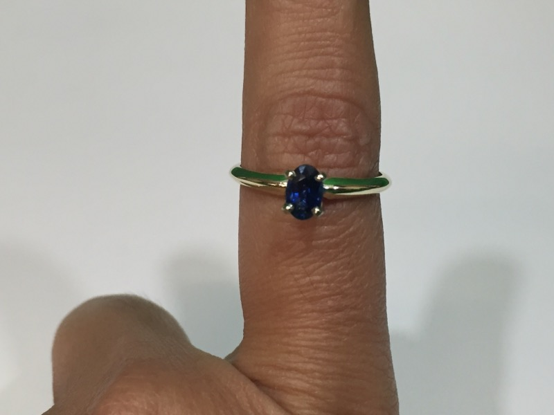 Sapphire Lady's Single Stone Ring 14K Yellow Gold 2g, Size 6 3/4