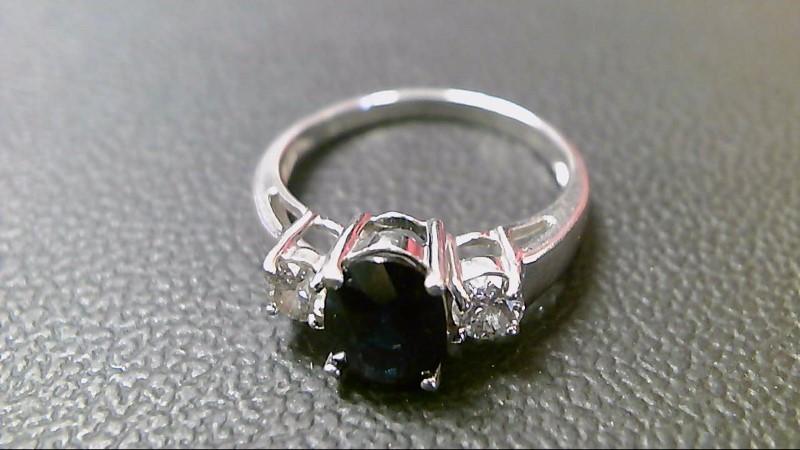 Synthetic Sapphire Lady's Stone & Diamond Ring 2 Diamonds .30 Carat T.W.
