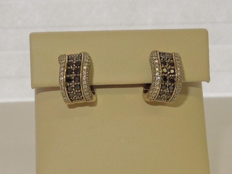 Gold-Diamond Earrings 132 Diamonds .820 Carat T.W. 14K Yellow Gold 8.3g