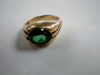 Green Stone Gent's Stone Ring 10K Yellow Gold 5.6g Size:9.5