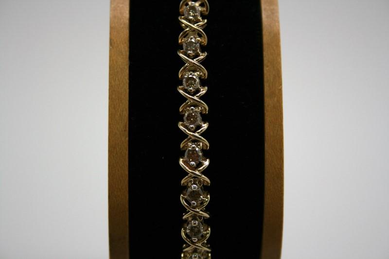 DIAMOND TENNIS BRACELET 10K YELLOW GOLD