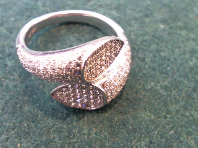 Synthetic Cubic Zirconia Lady's Silver & Stone Ring 925 Silver 3.4g Size:6.5