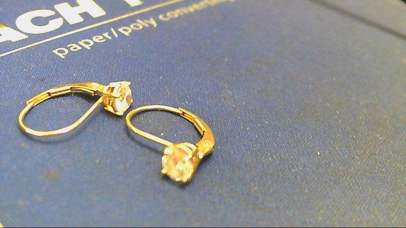 Synthetic Cubic Zirconia Gold-Stone Earrings 14K Yellow Gold 1.3g