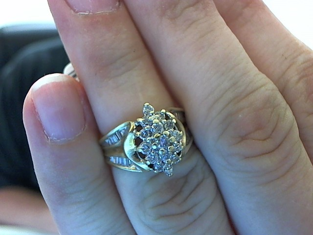 Lady's Diamond Cluster Ring 36 Diamonds .66 Carat T.W. 10K Yellow Gold 4.5g