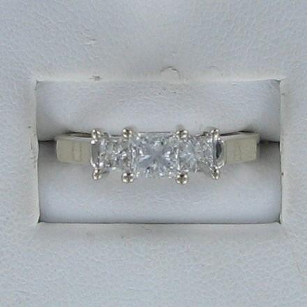Lady's Gold-Diamond Anniversary Ring 3 Diamonds .98 Carat T.W. 14K White Gold
