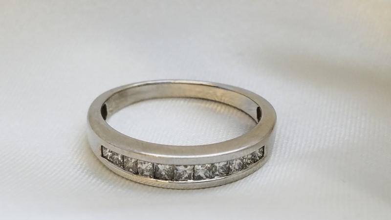 Lady's Diamond Channel Wedding Band 11 Diamonds .40 C.T.W. 14K White Gold 2.9g
