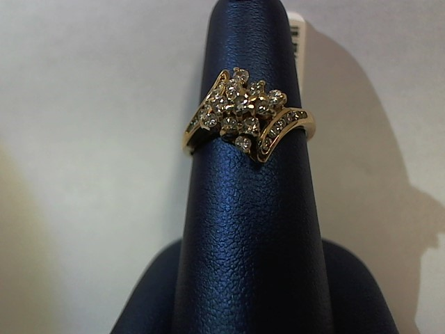 Lady's Diamond Fashion Ring 23 Diamonds .38 Carat T.W. 14K Yellow Gold 3g
