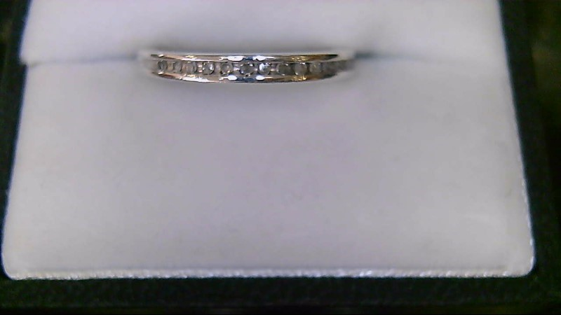 Lady's sterling silver 925 round diamond band sz 6