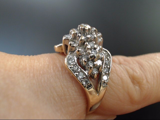VINTAGE DIAMOND CLUSTER COCKTAIL RING SOLID REAL 10K GOLD SIZE 7.25
