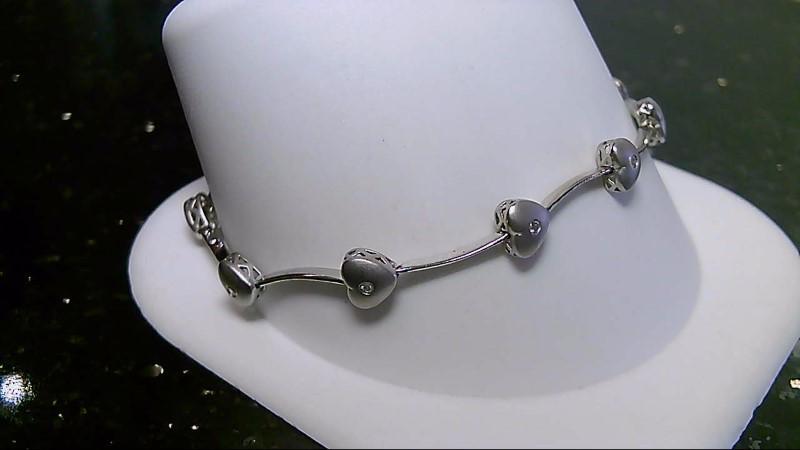 """7"""" Heart Gold Diamond Bracelet .20 CTTW 10K White Gold 5.6g"""