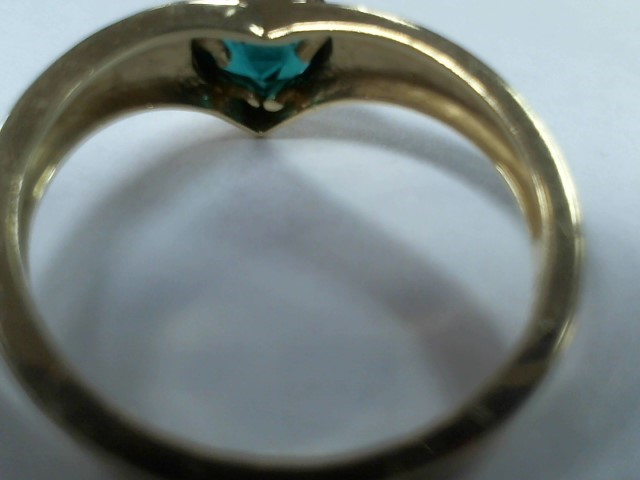 Emerald Lady's Stone Ring 10K Yellow Gold 1.8g Size:6.5