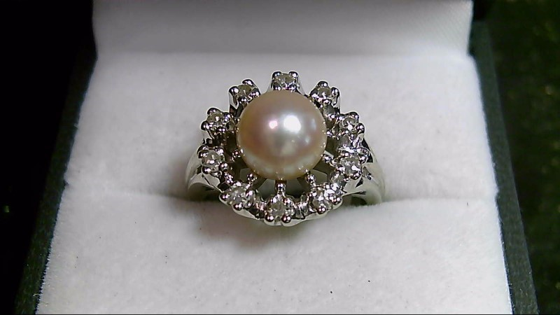 White Pearl Brilliant Cut Diamond 14K White Gold Ring WG