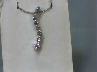 "18"" Diamond Necklace 9 Diamonds .54 Carat T.W. 14K White Gold 1.3dwt"