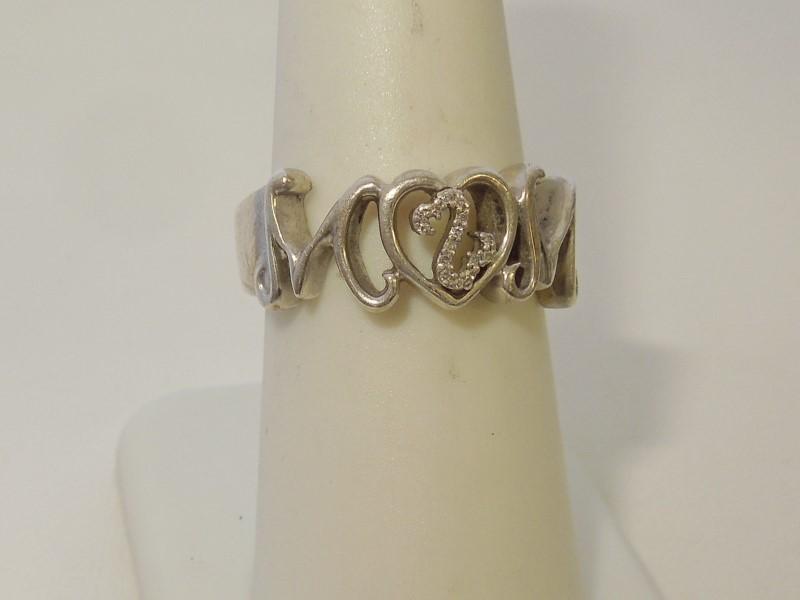 Lady's Silver-Diamond Ring 15 Diamonds .075 Carat T.W. 925 Silver 5.6g