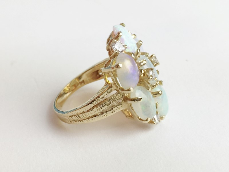 Multi Opal & Diamond Ring 6 Diamonds .18 Carat T.W. 14K Yellow Gold 6.6g