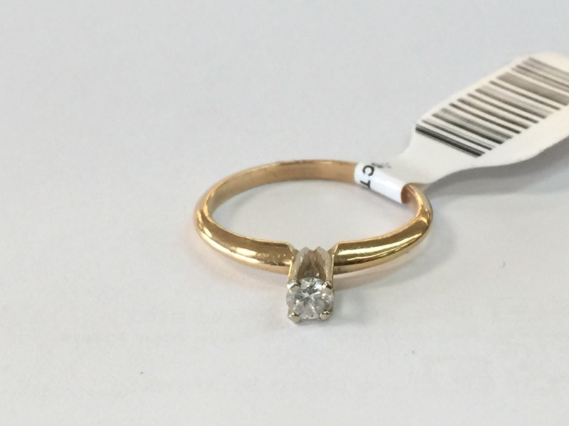.15CT_SOLITAIRE Lady's Diamond Solitaire Ring ENGAGEMENT_RG .13 CT.