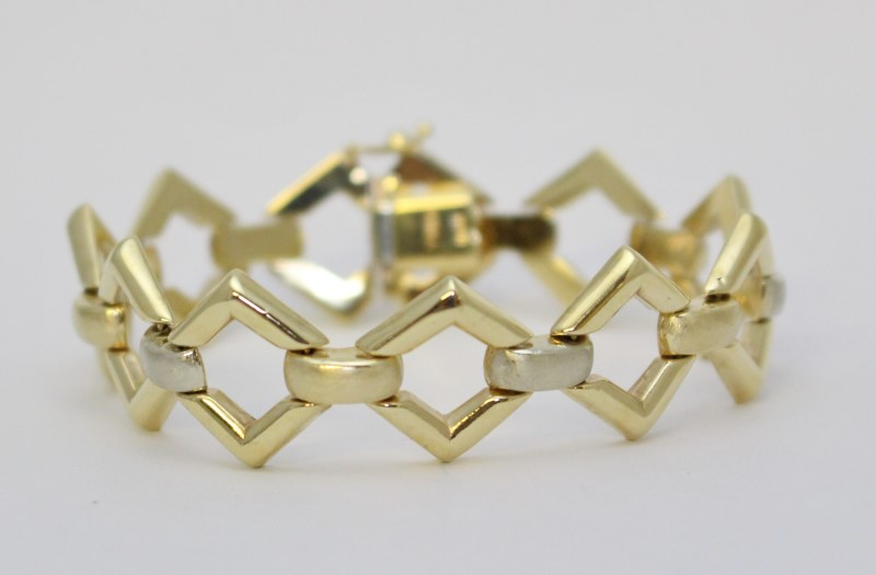 "7"" 14K Two-Tone White & Yellow Gold Funky & Chunky Diamond Link Bracelet"