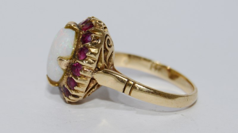 Victorian Style Opal and Ruby 14K Yellow Gold Ring Size 4