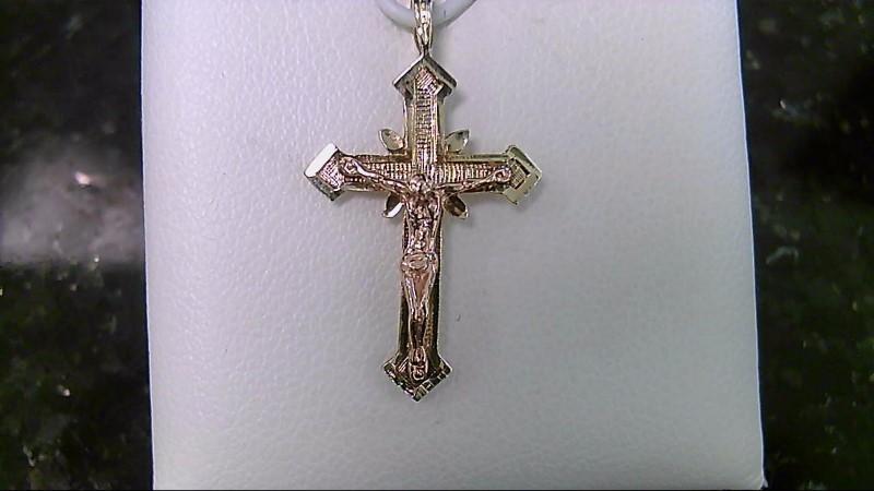 14K Yellow Gold Rose Crucifix Cross Pendant
