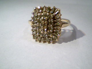 Lady's Diamond Cluster Ring 37 Diamonds .37 Carat T.W. 10K Yellow Gold 3.8g