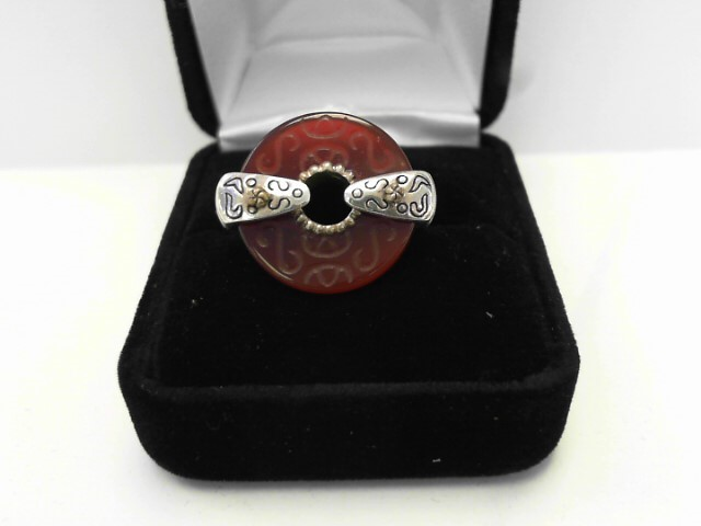 Red Stone Lady's Silver & Stone Ring 925 Silver 4.8dwt