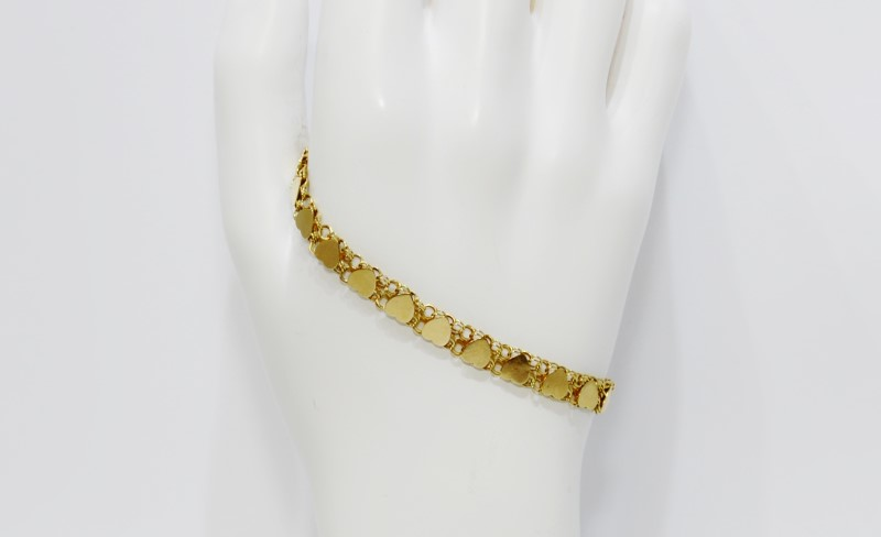 """6.5"""" 14K Yellow Gold Polished Hearts Tennis Chain Bracelet"""