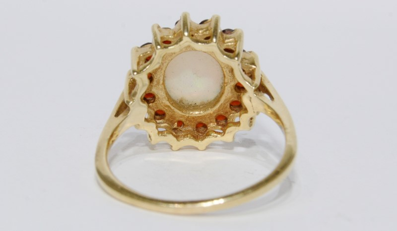 14K Yellow Gold Basket Cathedral Set Opal & Garnet Halo Ring Size 7