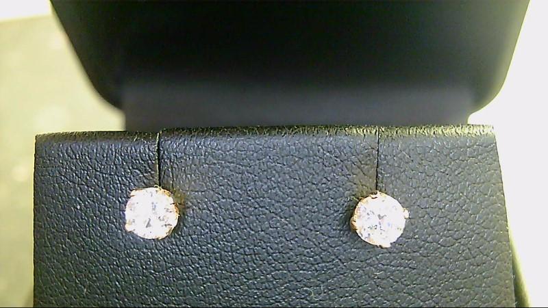 lady's 14k yellow gold round diamond stud earrings