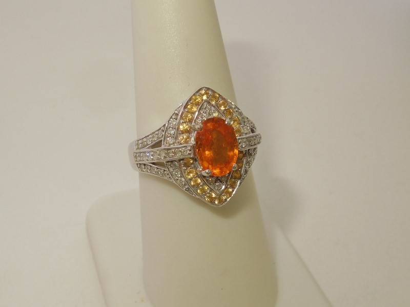 Orange Stone Lady's Stone & Diamond Ring 58 Diamonds .58 Carat T.W.