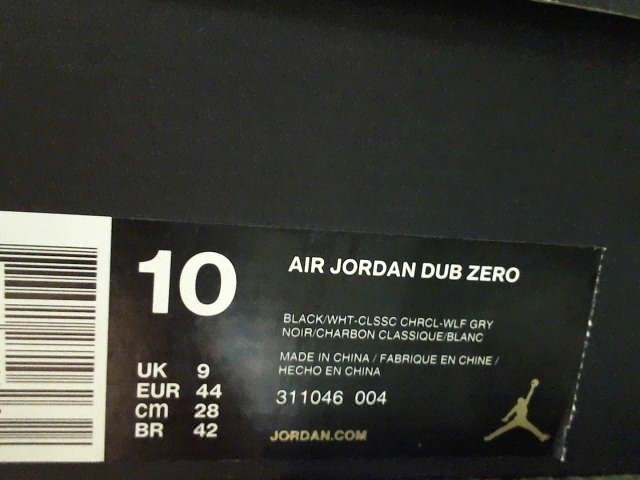 Nike Air Jordan Dub Zero 311046-004 Men Shoes Size 10 Classic Charcoal/Wolf Grey