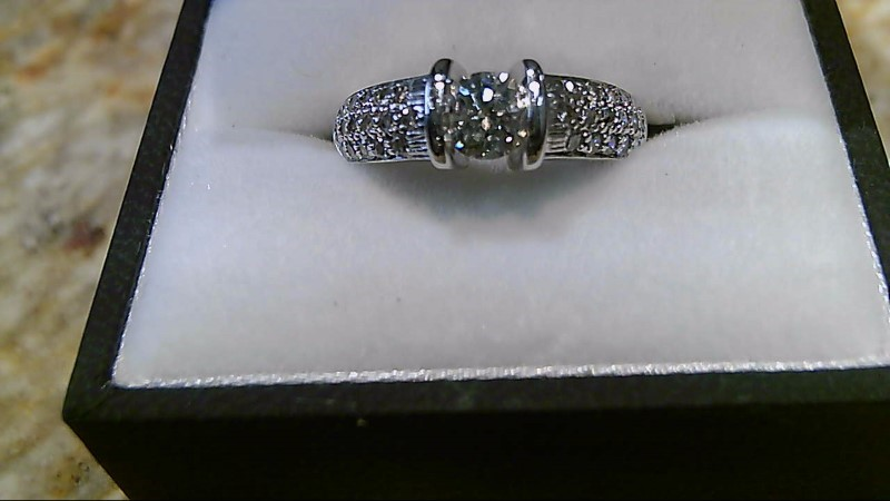 Lady's Diamond Engagement Ring 37 Diamonds .91 Carat T.W. 14K White Gold 5.8g