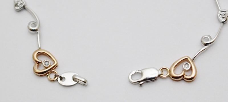 "6.5"" 10K Two Tone White & Rose Gold Hearts on the Vine Diamond Bracelet"