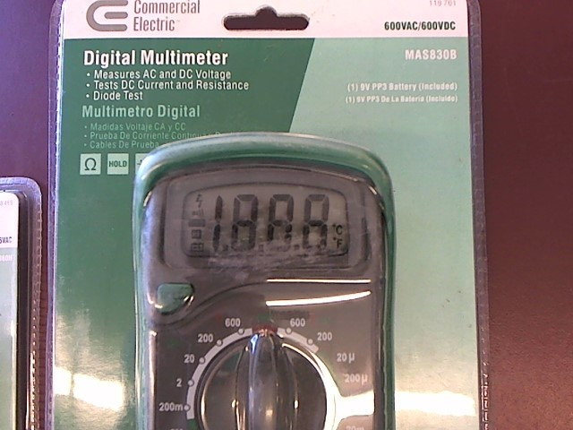 COMMERCIAL ELECTRIC Multimeter MAS830B