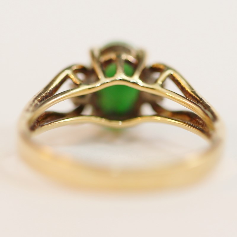 14K Yellow Gold Cabochon Cut Jade and Diamond Ring Size 7.25