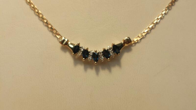 """14k Yellow Gold Necklace with 5 Blue Stones & 8 Diamond Chips 3.1DWT Length 14"""""""