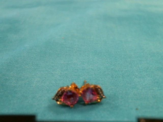 Pink Stone Gold-Stone Earrings 10K Yellow Gold 0.7dwt