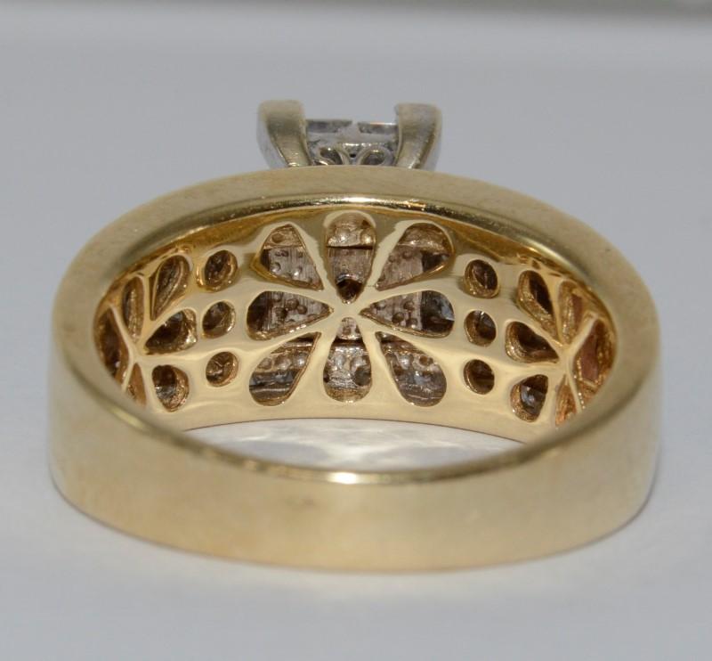 14K Two Tone Yellow & White Invisible Set Princess Diamond Statement Ring Size 9