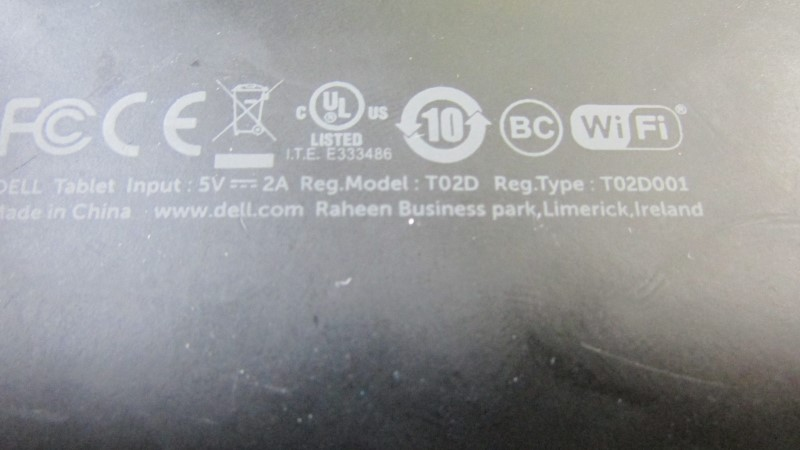 DELL VENUE TABLET T02D - WITH CASE