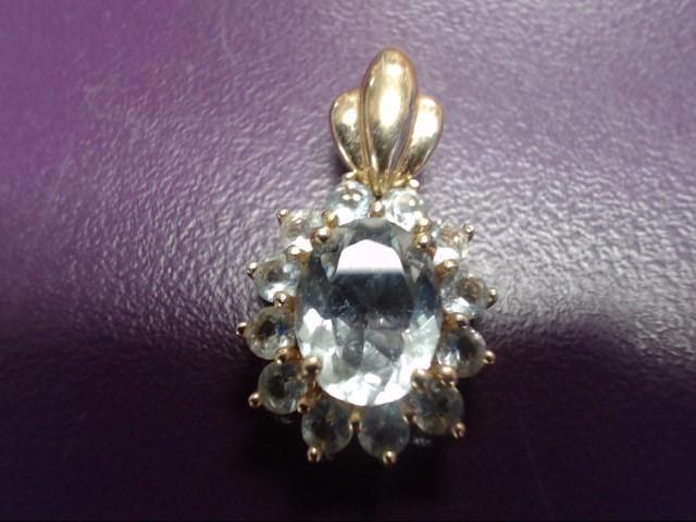 Aquamarine Gold-Stone Pendant 14K Yellow Gold 2.2g