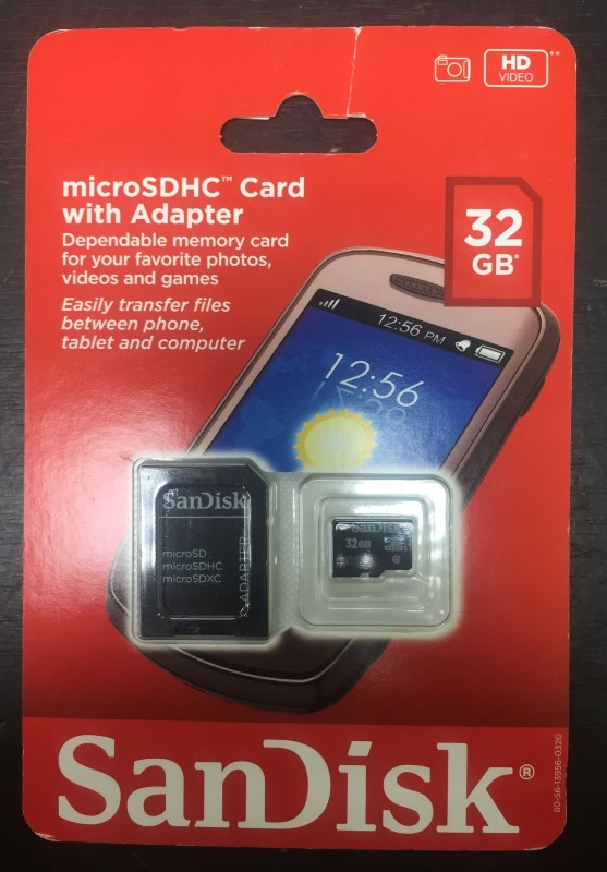 SANDISK - 32GB microSDHC CARD with ADAPTER - CLASS 4 -
